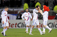 FOOTBALL - FRENCH CHAMPIONSHIP 2010/2011 - L1 - OLYMPIQUE LYONNAIS v STADE RENNAIS - 19/03/2011 - PHOTO JEAN MARIE HERVIO / DPPI - DESPAIR DEJAN LOVREN (OL) AT THE END OF THE MATCH