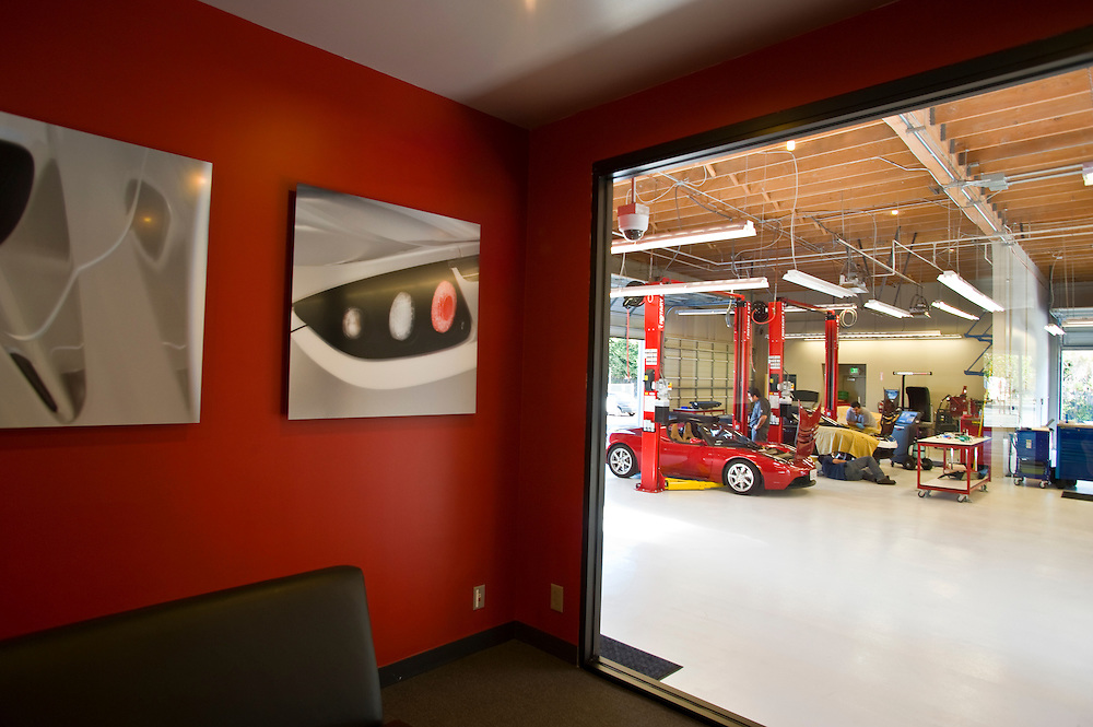 The clients lounge at Tesla Motors Inc.  The California  based company builds electro luxury cars.The 2008 Tesla Roadster is an electric sports car that accelerates from 0 to 60 MPH in 3.9 sec..Alternative Energy in Silicon Valley and the San Francisco Bay Area