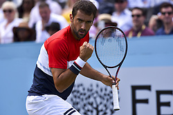 June 18, 2018 - London, England, United Kingdom - Marin Cilic of Croatia celebrates match point during his men's singles match against Fernando Verdasco of Spain during Day One of the Fever-Tree Championships at Queens Club on June 18, 2018 in London, United Kingdom. (Credit Image: © Alberto Pezzali/NurPhoto via ZUMA Press)