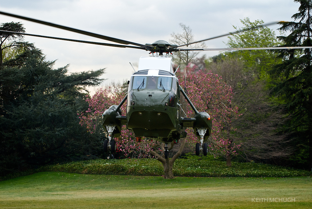 The President's helicopter, Marine 1, landing on the White House Grounds
