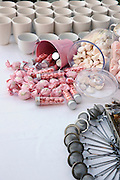 A buffet of pink sweets and candy