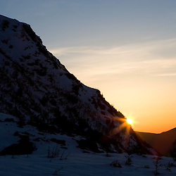 View towards dawn from Tuckerman Ravine in New Hampshire's White Mountains.  White Mountain National Forest.