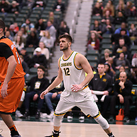 4th year forward Kornel Tokolyi (12) of the Regina Cougars in action during the Men's Basketball Play-In game on February  8 at Centre for Kinesiology, Health and Sport. Credit: Arthur Ward/Arthur Images