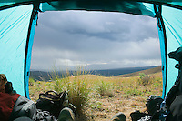 Looking out of a tent at approaching rain clouds Umptanum Ridge Washington USA &#xA;<br />