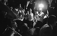 "The ""Fifes and Drums"" pipe band leads fellow males in singing songs about the town and townsfolk during the 'Curds and Creams repast', a male only event, in St. Leonards Hut, during Hawick Common Riding week. Scotland..PIC©JEREMY SUTTON-HIBBERT 2000.."