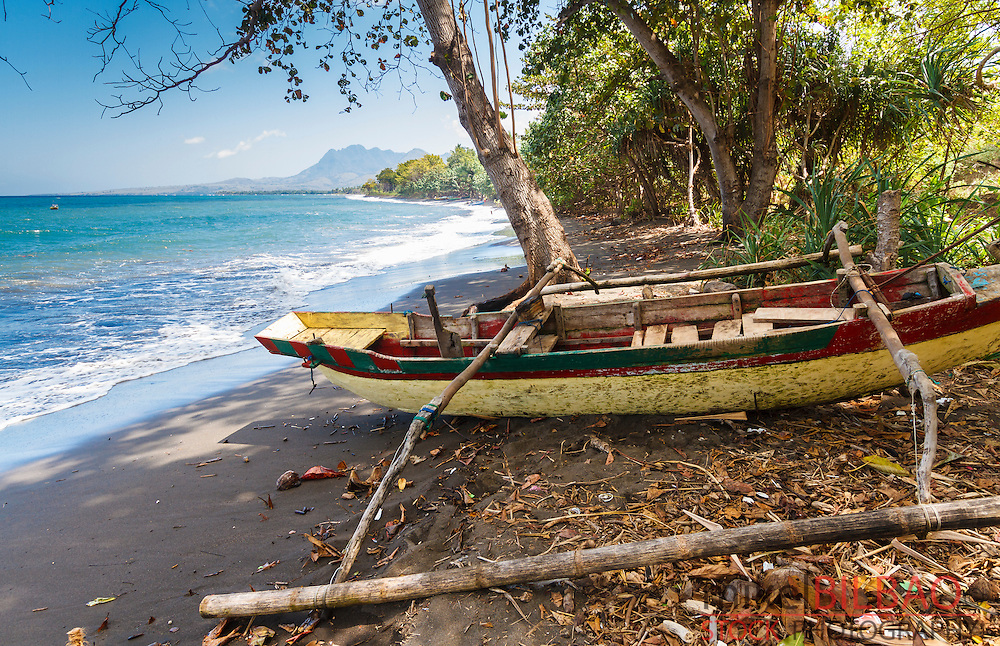 Fishing boat and coastal landscape. Flores island.  Indonesia, Asia.