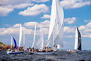 Heeltapper, Black Watch, and Mystery sailing in the Marblehead Corinthian Classic Yacht Regatta.
