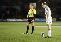 Connacht's Jack Carty lines up a penalty kick<br /> <br /> Photographer Simon King/Replay Images<br /> <br /> Guinness Pro14 Round 9 - Cardiff Blues v Connacht Rugby - Friday 24th November 2017 - Cardiff Arms Park - Cardiff<br /> <br /> World Copyright © 2017 Replay Images. All rights reserved. info@replayimages.co.uk - www.replayimages.co.uk