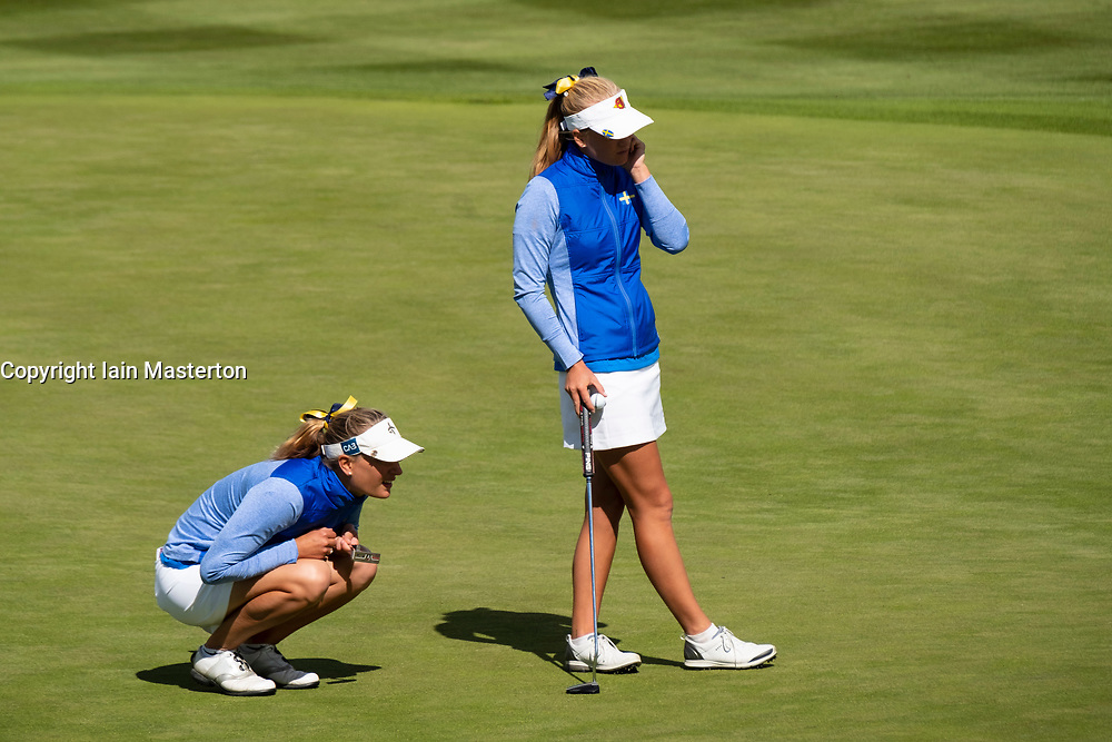 Gleneagles, Scotland, UK; 9 August, 2018.  Day two of European Championships 2018 competition at Gleneagles. Men's and Women's Team Championships Round Robin Group Stage - 2nd Round. Four Ball Match Play format. Johanna Gustavsson and Julia Engstrom (r) of Sweden