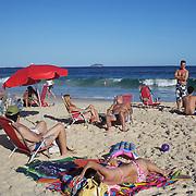 A beach scene on Ipanema beach, Rio de Janeiro,  Brazil. 4th July 2010. Photo Tim Clayton..