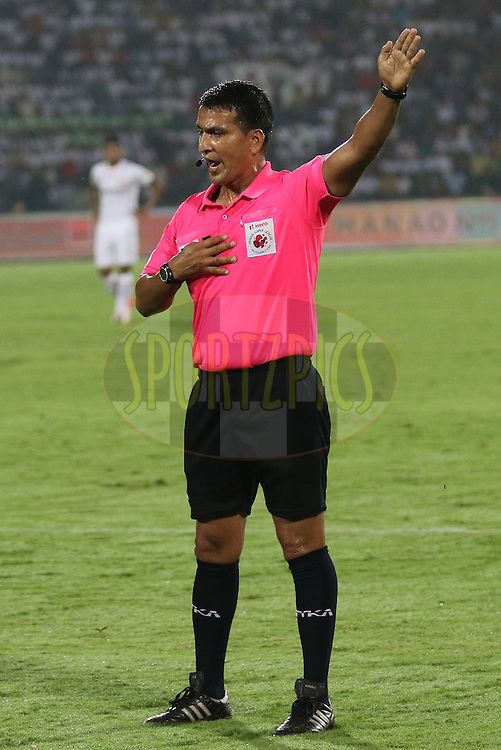 Match referee in action  during match 18 of the Indian Super League (ISL) season 3 between NorthEast United FC and Chennaiyin FC held at the Indira Gandhi Athletic Stadium in Guwahati, India on the 20th October 2016.<br /> <br /> Photo by Rahul Goyal / ISL/ SPORTZPICS