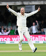 Wicket - Jack Leach of England celebrates taking the wicket of Matthew Wade of Australia during the International Test Match 2019 match between England and Australia at Lord's Cricket Ground, St John's Wood, United Kingdom on 18 August 2019.