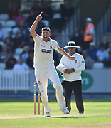 Craig Overton of Somerset celebrates taking the wicket of Karl Brown of Lancashire during the Specsavers County Champ Div 1 match between Somerset County Cricket Club and Lancashire County Cricket Club at the Cooper Associates County Ground, Taunton, United Kingdom on 5 September 2018.