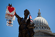 A redecorated statue shows discontent with the sitting Governor Scott Walker outside the Capitol building in Madison.