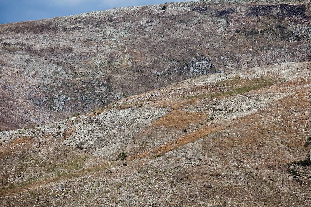 Hillsides stripped of vegetation north of Port-au-Prince, Haiti
