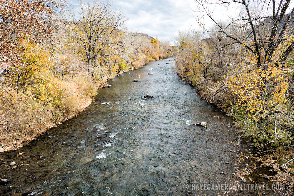 Clear Creek runs through Golden, Colorado, just outside Denver at the eastern edge of the Rocky Mountains.