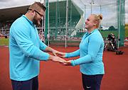 Hammer throw winners Pawel Fadjek (POL) and Joanna Fiodorow (POL) hold hands during the Grand Prix Birmingham in an IAAF Diamond League meet at Alexander Stadium in Birmingham, United Kingdom on Sunday, August 20, 2017. (Jiro Mochizuki/Image of Sport)