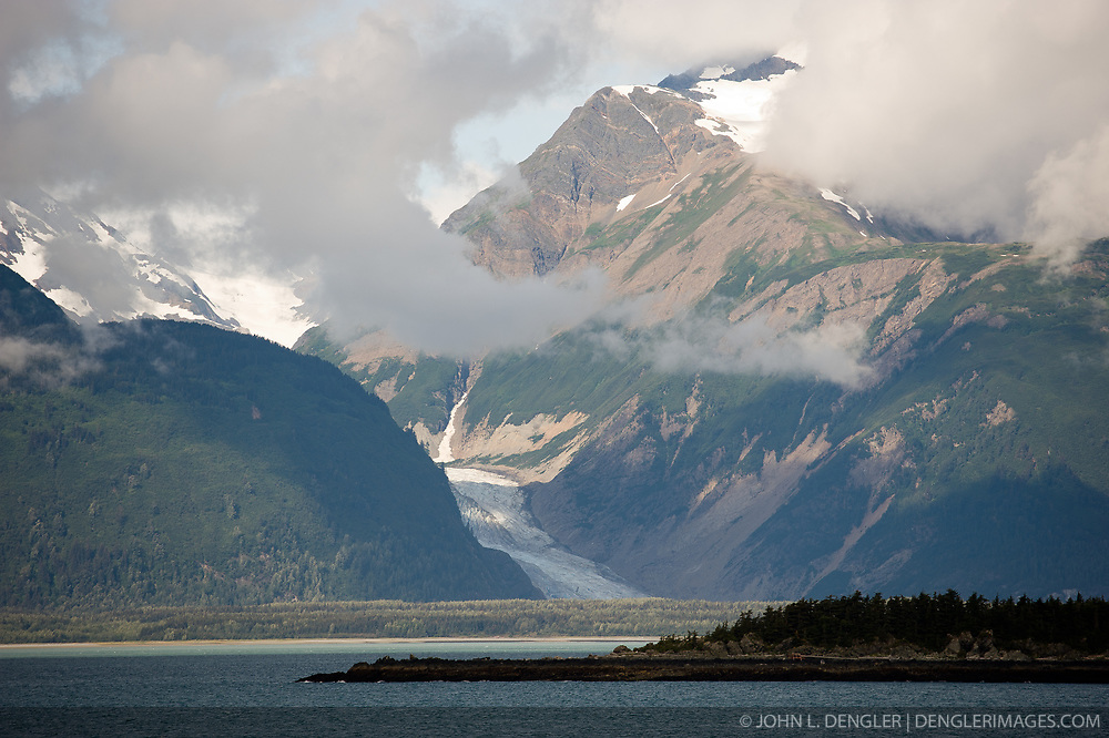 The Davidson Glacier flows down to the Chilkat Inlet near Haines, Alaska.