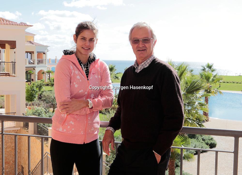 Tennis Profi Julia Goerges (GER) mit ihrem Sponsor Urs Wild (SUI), Direktor des Cascade Wellness &amp; Lifestyle Resort in Lagos,Algarve,Portugal,<br /> Halbkoerper,Querformat,Portrait,privat,