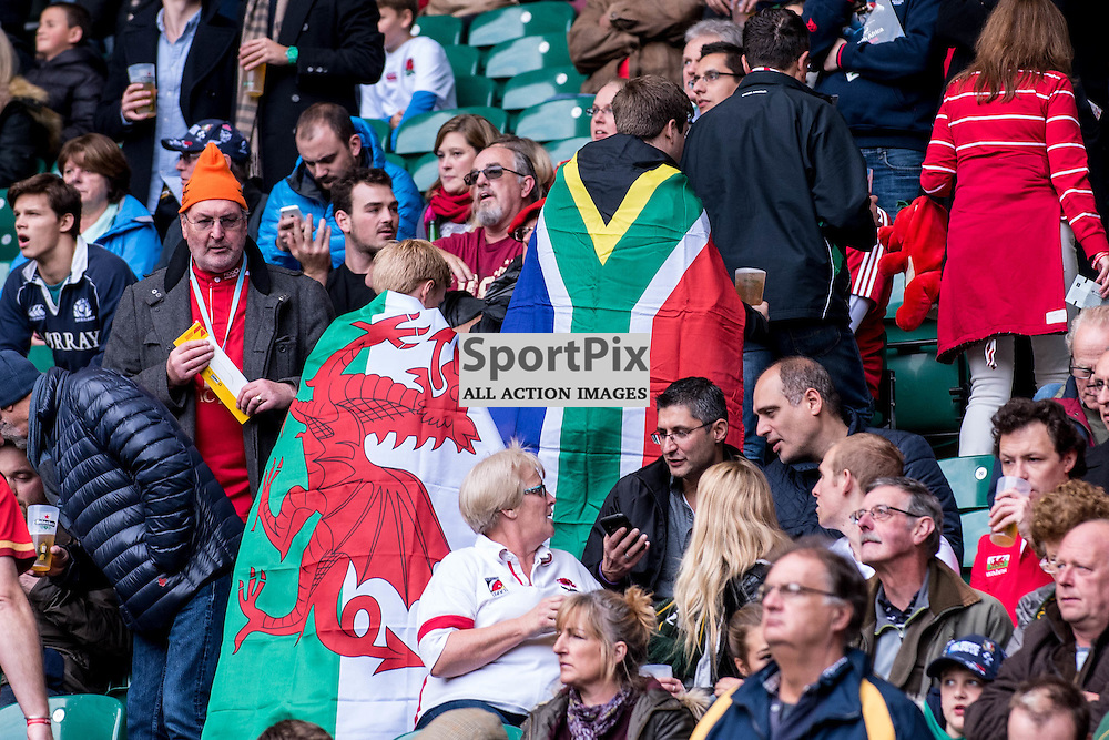 Multi-national fans. Action from the South Africa v Wales quarter final game at the 2015 Rugby World Cup at Twickenham in London, 17 October 2015. (c) Paul J Roberts / Sportpix.org.uk