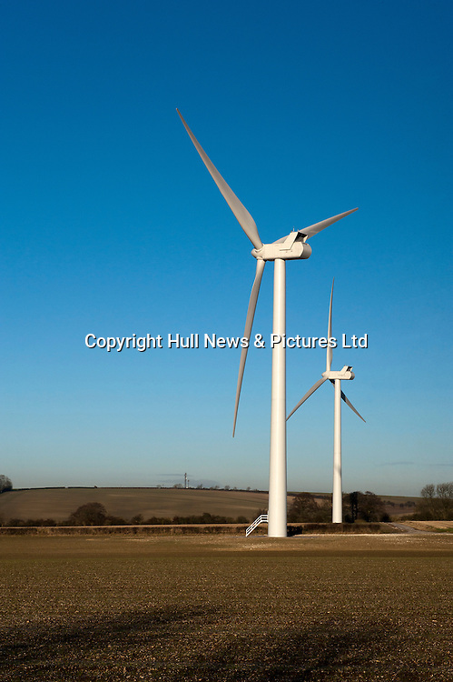 Wind Turbines at Sancton Hill, East Yorkshire, situated within the Yorkshire Wolds.