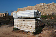 Sarcophagi - coffin made of stone, Caesarea, a town built by Herod the Great about 25 - 13 BC, lies on the sea-coast of Israel about halfway between Tel Aviv and Haifa, Remains of all the principal buildings erected by Herod existed down to the end of the 19th century. Remains of the medieval town are also visible, consisting of the walls (one-tenth the area of the Roman city), the castle, the site of the modest Crusader cathedral and church.