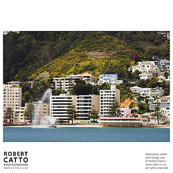 Band Rotunda and Fountain in Oriental Bay, Wellington, New Zealand.<br />