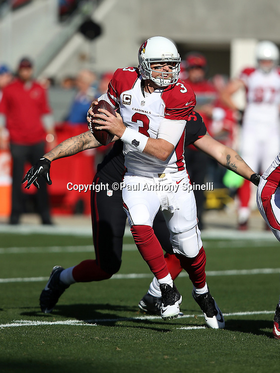 Arizona Cardinals quarterback Carson Palmer (3) scrambles away from defensive pressure in the first quarter during the 2015 week 12 regular season NFL football game against the San Francisco 49ers on Sunday, Nov. 29, 2015 in Santa Clara, Calif. The Cardinals won the game 19-13. (©Paul Anthony Spinelli)
