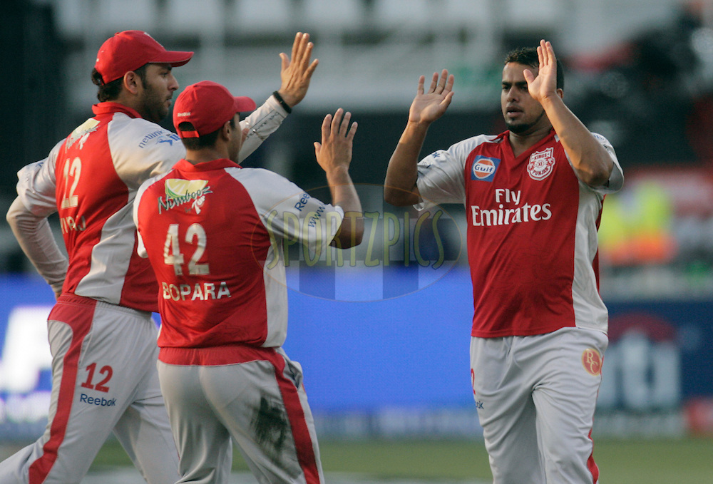 DURBAN, SOUTH AFRICA - 24 April 2009. Yusuf Abdulla celebrates the wicket of Jesse Ryder with Yuvraj Singh and Ravi Bopara during the IPL Season 2 match between the Royal Challengers Bangalore and the Kings X1 Punjab held at Sahara Stadium Kingsmead, Durban, South Africa..