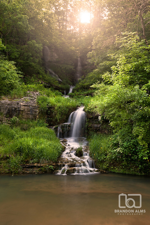 Landscape shot of a cascading waterfall