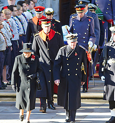 The Queen and Prince Phillip  and Prince Harry during the annual Remembrance Sunday Service at the Cenotaph, Whitehall, London, United Kingdom. Sunday, 10th November 2013. Picture by i-Images