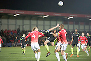 Salford City forward Adam Rooney and Salford City defender Nathan Pond challenge the opponent during the EFL Sky Bet League 2 match between Salford City and Macclesfield Town at the Peninsula Stadium, Salford, United Kingdom on 23 November 2019.