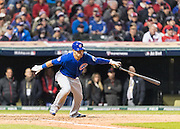 CLEVELAND, OH - OCTOBER 26, 2016: Willson Contreras #40 of the Chicago Cubs bats during Game 2 of the 2016 World Series against the Cleveland Indians at Progressive Field on October 26, 2016 in Cleveland, Ohio. (Photo by Jean Fruth)
