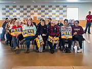 28 JANUARY 2020 - OSCEOLA, IOWA: People wait for Pete Buttigieg to speak at a campaign event in Osceola, about 50 miles south of Des Moines. Buttigieg talked to a crowd of about 130 people in Osceola. Buttigieg, the former mayor of South Bend, Indiana, is running to be the Democratic nominee for President in the 2020 election. Iowa traditionally holds the first presidential selection event of the 2020 election cycle. The Iowa Caucuses are on Feb. 3, 2020.      PHOTO BY JACK KURTZ