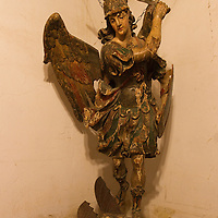 A statue depicting good triumphing over evil is located at Mission San Miguel.