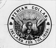 Advertisement label for Fenian shirt collars with a portrait of the Irish patriot Robert Emmet (1778-1803) against a shield with stars and stripes. From 1866, the year the Battle of Ridgeway  when Irish-American irregulars routed Canadians.