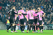 The Cobblers  during the The FA Cup Third Round Replay match between Milton Keynes Dons and Northampton Town at stadium:mk, Milton Keynes, England on 19 January 2016. Photo by Dennis Goodwin.