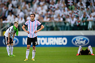 (C) Legia's Miroslav Radovic reacts after the UEFA Champions League play-off second leg match between Legia Warsaw and FC Steaua Bucuresti at Pepsi Arena Stadium in Warsaw on August 27, 2013.<br /> <br /> Poland, Warsaw, August 27, 2013<br /> <br /> Picture also available in RAW (NEF) or TIFF format on special request.<br /> <br /> For editorial use only. Any commercial or promotional use requires permission.<br /> <br /> Photo by © Adam Nurkiewicz / Mediasport