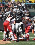 Sep 15, 2019; Oakland, CA, USA; Oakland Raiders outside linebacker Vontaze Burfict (55) celebrates after making a tackle against the Kansas City Chiefs at Oakland-Alameda County Coliseum. The Chiefs defeated the Raiders 28-10..(Gerome Wright/Image of Sport)