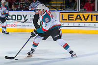 KELOWNA, CANADA - JANUARY 28: Lucas Johansen #7 of the Kelowna Rockets skates with the puck against the Portland Winterhawks on January 28, 2017 at Prospera Place in Kelowna, British Columbia, Canada.  (Photo by Marissa Baecker/Shoot the Breeze)  *** Local Caption ***