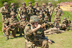Reenactors of the NWW2A Portraying members of the 6th Airborne Division during a 1940s wartime weekend at Fort Paull on Bank Holiday Monday ..5 May 2013.Image © Paul David Drabble