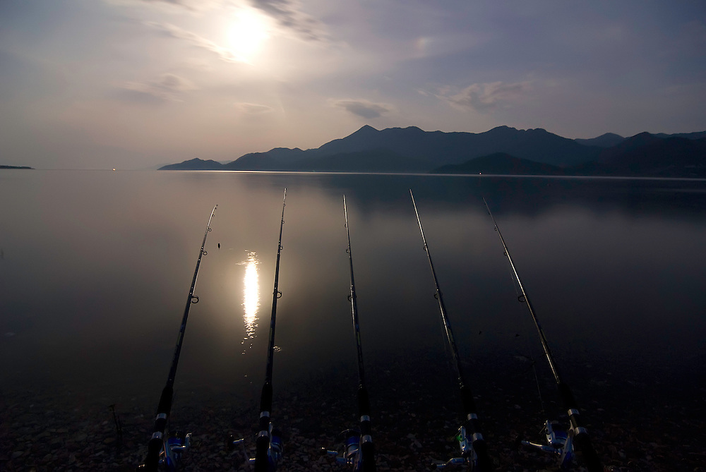 Fishing rods on Lake Skadar, Montenegro