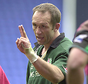 14/04/2002.Sport - Rugby Union.Madjeski Stadium - Reading.Zurich Premiership.London Irish vs Harlequins.Brendan Venter, inticates extra time ...