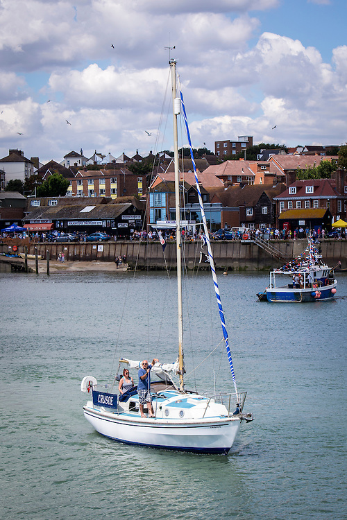Crusoe, the sailing boat leaving Folkestone Harbour.