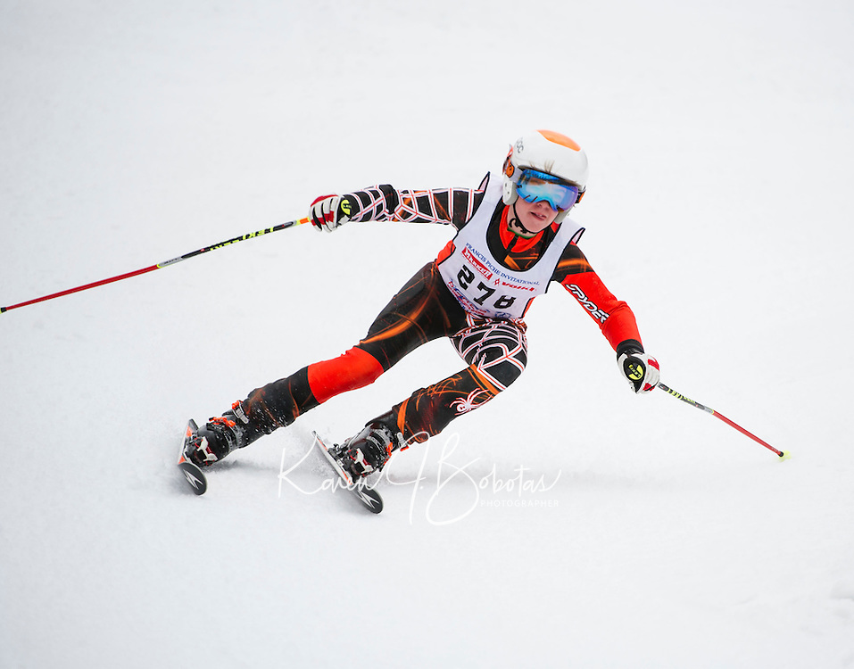 Piche Invitational giant slalom at Gunstock.  U14 men 2nd run.  ©2014 Karen Bobotas Photographer