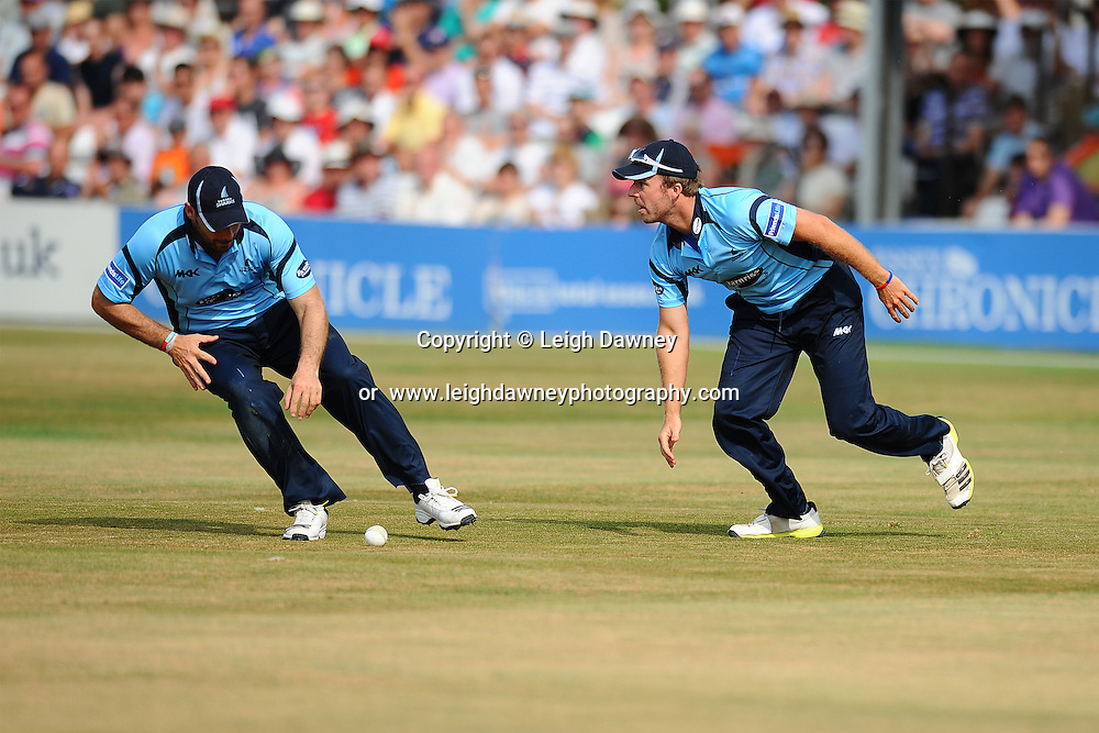 "Sussex fielding action during the Friends Life T20 between Essex ""Eagles"" v Sussex ""Sharks"". at the Essex County Cricket Ground on the 14th July 2013. Credit: © Leigh Dawney Photography. Self Billing where applicable. Tel: 07812 790920"