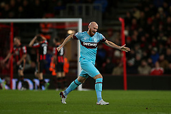 Goal, Mark Noble of West Ham United celebrates Enner Valencia of West Ham United goal, Bournemouth 1-2 West Ham United - Mandatory by-line: Jason Brown/JMP - Mobile 07966 386802 12/01/2016 - SPORT - FOOTBALL - Bournemouth, Vitality Stadium - AFC Bournemouth v West Ham United - Barclays Premier League