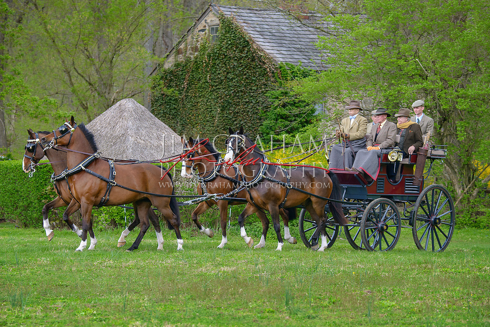 George A Weymouth drives his team to the meet of the second of three drives from The Big Bend Farm in Chadds Ford, Pa., Saturday 2 May 2015. Photography by Jim Graham