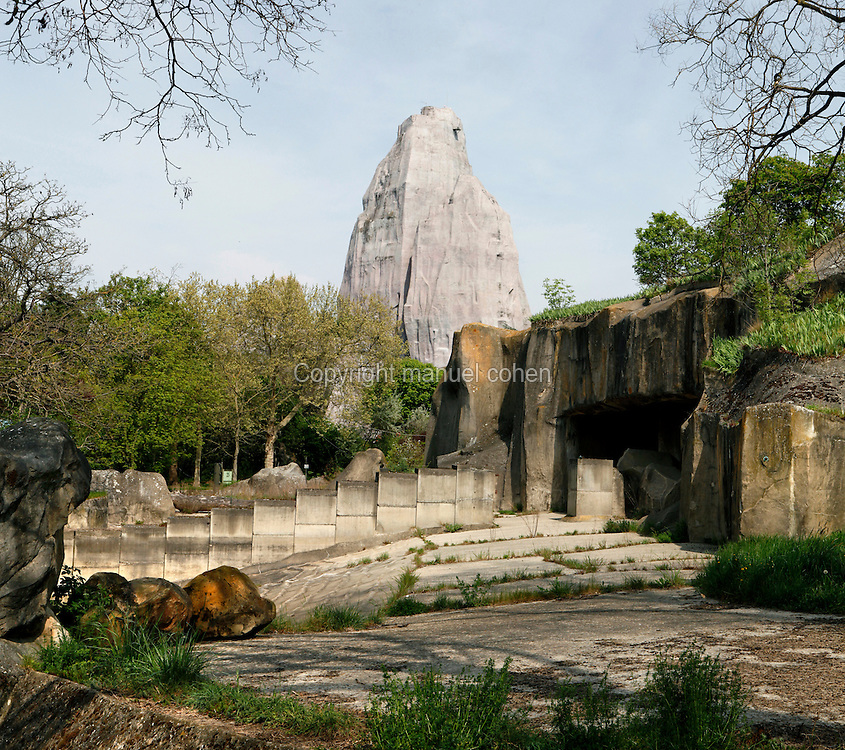 General view of the Asian Elephants' Plateau, with the Grand Rocher (Great Rock) in the background, Parc Zoologique de Paris, or Zoo de Vincennes, (Zoological Gardens of Paris, also known as Vincennes Zoo), 1934, by Charles Letrosne, 12th arrondissement, Paris, France, pictured on April 11, 2011 in the afternoon. In November 2008 the 15 hectare Zoo, part of the Museum National d'Histoire Naturelle (National Museum of Natural History) closed its doors to the public and renovation works will start in September 2011. The Zoo is scheduled to re-open in April 2014. Picture by Manuel Cohen.