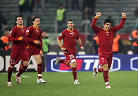 "Fotball<br /> Italia<br /> Foto: inside/Digitalsport<br /> NORWAY ONLY<br /> <br /> David Pizarro celebrates after scoring with Cristian Chivu (1st L), Rodrigo TAddei (2nd L), Simone Perrotta (2nd R)<br /> <br /> Italy ""Tim Cup"" 2006-2007<br /> 31 Jan 2007 (Semifinal 2nd leg)<br /> Roma v Milan (3-1)"